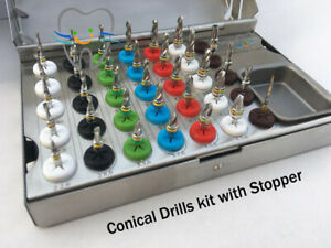 Dental Conical Drills kit with stopper Parallel Pins Pilot Drill Extend PCs Kit