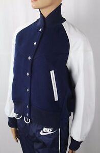 Nike Navy Wool White Leather Nikelab X Sacai Tech Destroyer Jacket NWT $800
