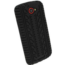 iGadgitz Black Silicone Skin Case Cover With Tyre Tread Design for HTC One S
