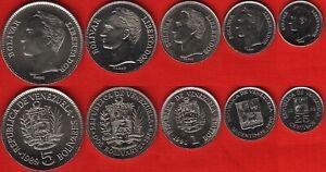 Venezuela set of 5 coins: 25 centimos - 5 bolivares 1989-1990 UNC