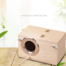Solid Wood Nest Box Nesting Boxes For Small Birds Parrot Budgies Finches 2 Sizes