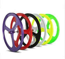 700c Tri Spoke Fixie Fixed Gear Single Speed Bike Rear Mag Wheel Rim ( White )