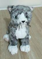 Grey White Stripe Kitten Cat Tabby Soft Plush Stuffed Toy 23 cm Length