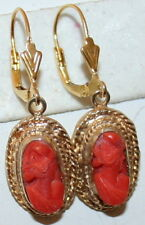 ANTIQUE SILVER GOLD PL CORAL CAMEO HAND CARVED LADY PROFILE LOVE KNOT EARRINGS