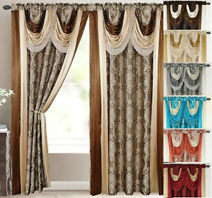 Bella Luxury Jacquard Curtain Panel with Attached Waterfall Valance & Scarf 54 w