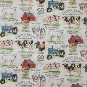 Pigs on Black Farm Theme Fabric Gift Bag