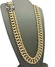 "Hip Hop Rapper Style Gold PT 6mm 30"" Rope, 10mm 30"" Cuban Chain 2 Necklace Set"