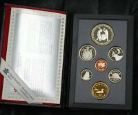 1988 Canada Proof Set, 7 Gem Coins, in Leather Case, Double Dollar Set, No Box