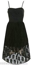 Miss Selfridge Black Bandeau Lace Dress 12 40 Wrap Hilo Mullet Skirt New BNWT