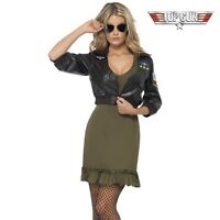 Ladies 80s 80's Licensed Top Gun Sexy Fancy Dress Costume Jacket By Smiffys New