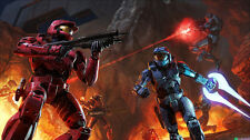 "Halo 1 2 3 4 Game Fabric poster 21"" x 13"" Decor 3-54"