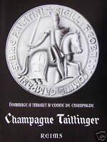 PUBLICITÉ 1961 CHAMPAGNE TAITTINGER REIMS - THIBAUT IV COMTE DE CHAMPAGNE