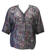 N Touch Josie Black & Rose Paisley  Blouse Tunic Top size  3X    3217