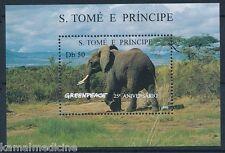 Sao Tome 1996 MNH SS, Elephant, Wild Animals, Greenpeace 25th Anniv