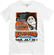 T-shirt James Brown Apollo Theatre, maglietta bianca con disegno poster concerto