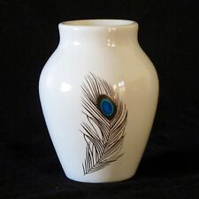 Ceramic Urn Shape White Posy Vase with Peacock Feather Motif c.1950s
