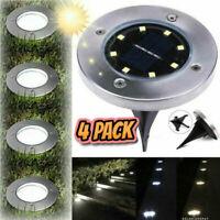 4 Pack LED Solar Power Ground Lights Floor Decking Outdoor Garden Lawn Path Lamp