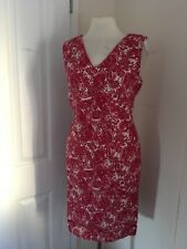 size 18 red patterned linen tunic dress marks and spencer brand new