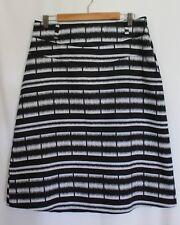 REGATTA ~ Black White Geometric Stripe Cotton Linen A-Line Skirt 14