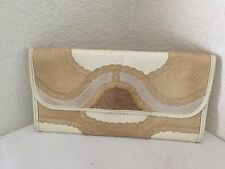 CARLOS FALCHI BEIGE SNAKELIKE  SKIN LEATHER CLUTCH BAG