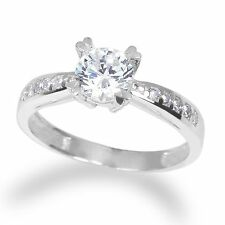 Ladies 14K White Gold Solid Round Clear CZ 0.8ct Solitaire  Ring Size 4-10