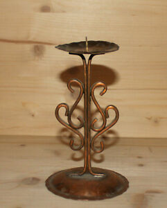 Vintage hand crafted wrought copper candlestick