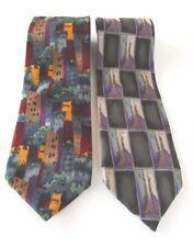 Jerry Garcia burgundy print & gray print neckties (2) - Fathers Day - EUC