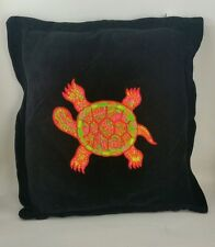 """Black Velvet Pillow with Neon Color Embroidered Turtle 14"""" x 15""""  DGE Corp 1996"""