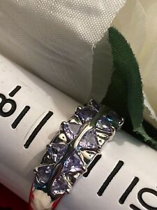STERLING SILVER DOUBLE LAYER TRILLION CUT LAVENDER GEMSTONE(S) PAVE RING - SZ 9