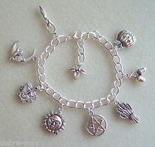 Pentagram 8 Sabbats Wheel of the Year Wiccan Charm Bracelet - Goddess Pagan