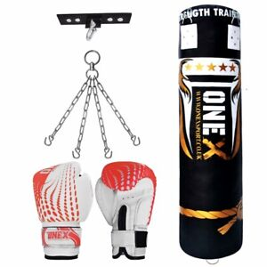 Filled Heavy Punch Bag Kick Training Boxing  Gloves,Hook Chain