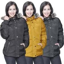 Ladies Womens Spindle Designer Hooded Short Jacket Quilted Padded Coat Fur Parka
