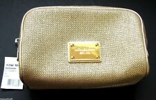 NEW MICHAEL KORS ABBEY METALLIC GOLD CANVAS MAKEUP,COSMETIC TRAVEL POUCH, BAG