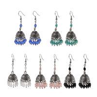 Retro Indian Bollywood Jhumka Crystal Drop Dangle Earrings Ethnic Gypsy Jewelry