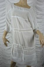 T-NUH white 100% cotton drop waist 3/4 sleeve beach summer dress size L BNWT
