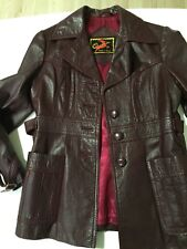 Oxblood Maroon Burgundy Genuine Leather Winter Jacket AU M 10 Vintage Spain