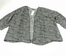 Womens 3X Eileen Fisher White Black Linen Open Cardigan Sweater 3/4 sleeve