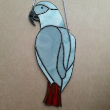 12 inch tall Stained Glass African Grey Parrot Handmade by Faith Stained Glass