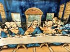 Vintage Da Vinci Last Supper Jesus Tapestry Wall Hanging Woven Made in Italy 6x4