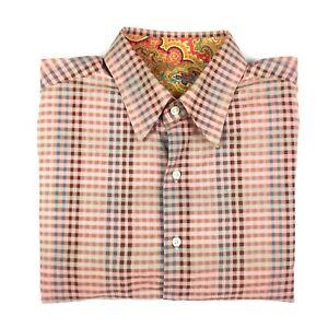 Robert Graham Mens Long Sleeve Button Up Shirt Size Large Multicoloured Check