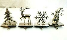 Pottery Barn Silver Snowman Christmas Holiday Stocking Holder Mantle Fireplace