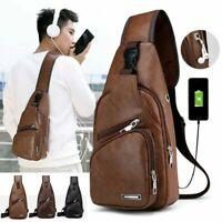 Men Leather Chest Bag Shoulder Sling Pack USB Charging Sport Crossbody Backpack