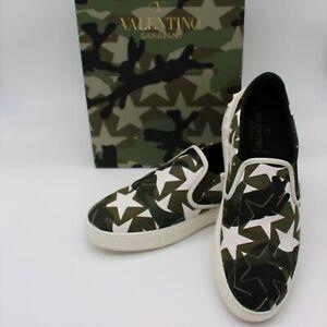 Valentino Garavani Rockstud Army Green Camo Star Slip On Sneakers 40.5 US 7.5