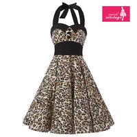 Women's Leopard Print Dress Vintage Buttons Halterneck 50s Rockabilly Dress
