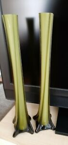 2 Lovely 18inches Tall Twisted Stem Green Bud Vases