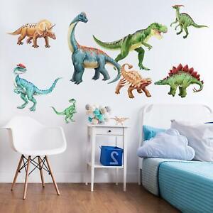 Dinosaur Watercolor Wall Decal Sticker Kit-Large tyrannosaurus Rex and Brachiosa