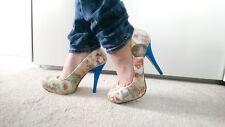 Mujer zapatos talla 6 Tacones Beatrix Potter Peter Conejo Azul Glitter talón de estilo