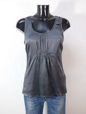 BRUNELLO CUCINELLI Damen Tunika Shirt Gr M DE / Grau Seide Stretch  ( Q 6015 )