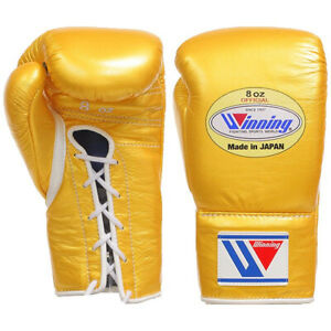 Winning Boxing gloves Lace up 8oz Gold from JAPAN FedEx tracking Authentic -J