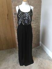 COAST INGA Full Length Black Sequinned Dress Uk 16 Metallic